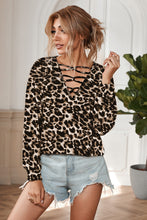 Load image into Gallery viewer, Hollow-out V Neck Leopard Blouse