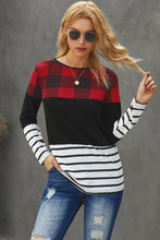 Load image into Gallery viewer, Plaid Splicing Striped Color Block Long Sleeve Top