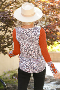Leopard Splicing Button Long Sleeves Top