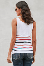 Load image into Gallery viewer, Multicolor Stripes White Knit Tank Top