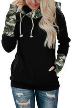 Load image into Gallery viewer, Camo Print Double Hoods Thumb Hole Hoodie