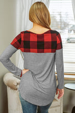 Load image into Gallery viewer, Buffalo Plaid Splicing Long Sleeve Top