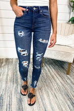 Load image into Gallery viewer, Dark Blue Leopard Patch Distressed Skinny Jeans