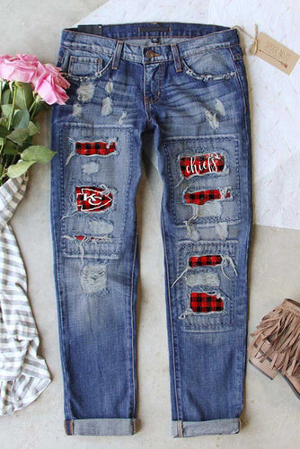Vintage Plaid Print Patches Mid-waist Jeans