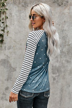Load image into Gallery viewer, Sequin Pocket Dotted Panel Striped Sleeve Top