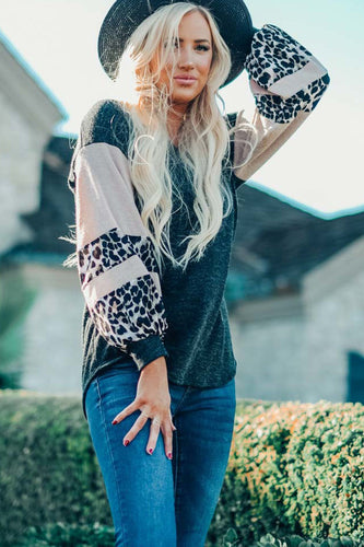 Knit Contrast Puff Leopard Sleeves Top