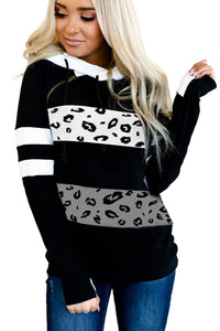 Patchwork Inclined Zipper Thumb Hole Long Sleeve Hoodie
