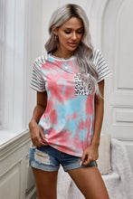 Load image into Gallery viewer, Tie Dye Leopard Striped Splicing Pocket T-shirt