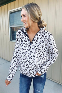 Warm Quarter Zip Leopard Sweatshirt