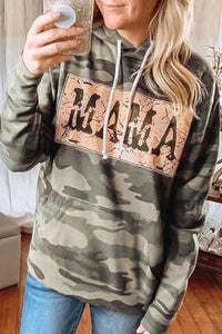 Camo Print Letter Drawstring Hoodie with Pocket