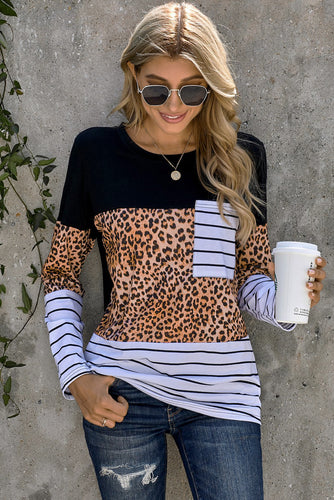Leopard Striped Patchwork Long Sleeve Top with Pocket