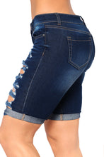 Load image into Gallery viewer, Dark Blue Denim Ripped Bermuda Shorts