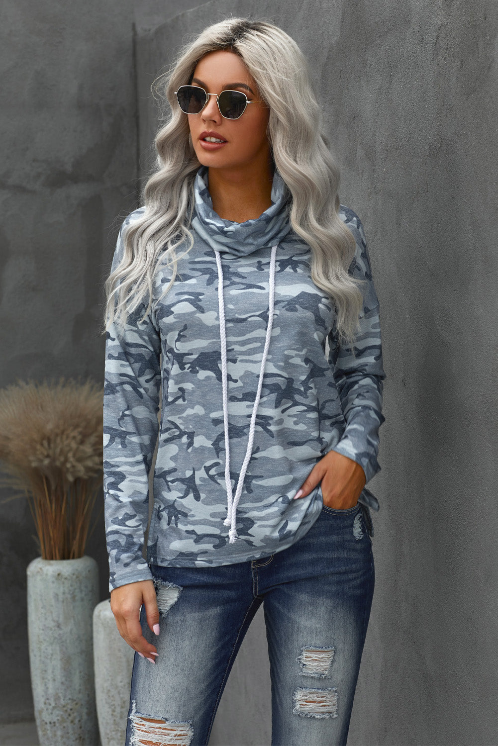 Grey Blue Camo Drawstring Sweatshirt