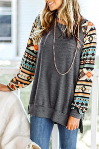Tribal Print Waffle Knit Pullover with Side Slit