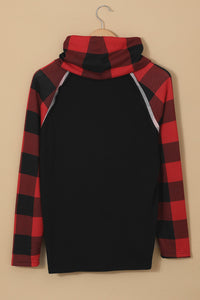 Cowl Neck Plaid Splice Casual Long Sleeve Top