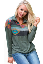 Load image into Gallery viewer, Aztec Print Atop Sage Green Pullover Sweatshirt