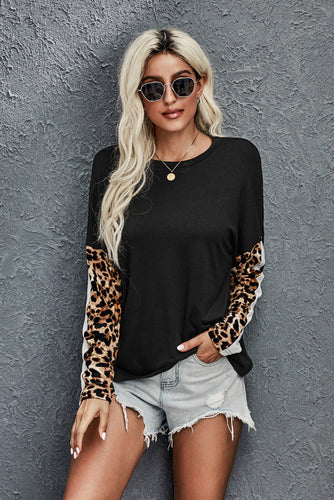 Long Sleeve Top with Leopard Print