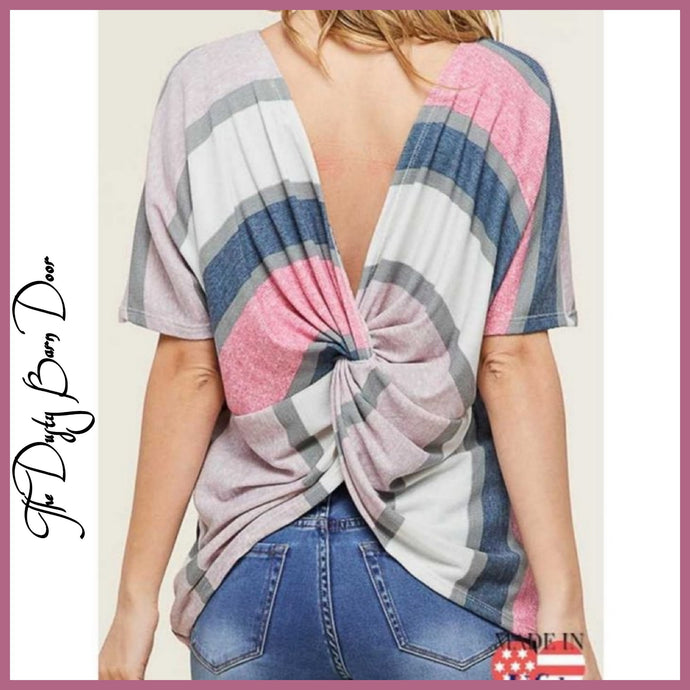 Striped Twisted Back Blouse