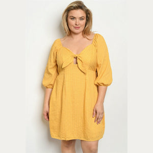 Plus Size Yellow High Waisted Dress