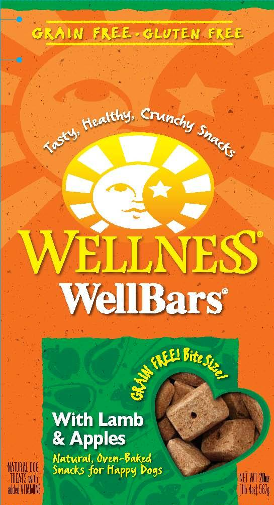 Wellness Natural Grain Free Wellbars Crunchy Dog Treats, Lamb and Apples Recipe Dog Treats