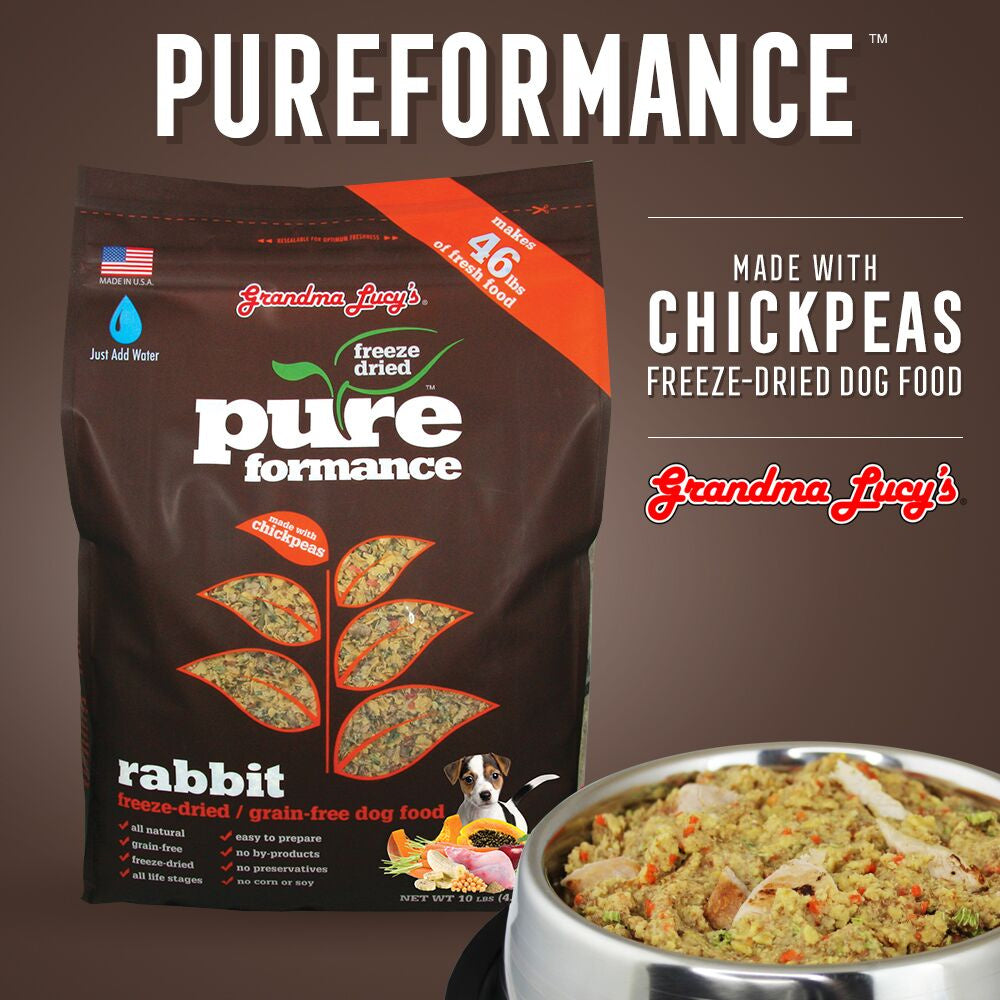 Grandma Lucy's Pureformance Rabbit and Chickpea Freeze Dried Grain Free Dog Food