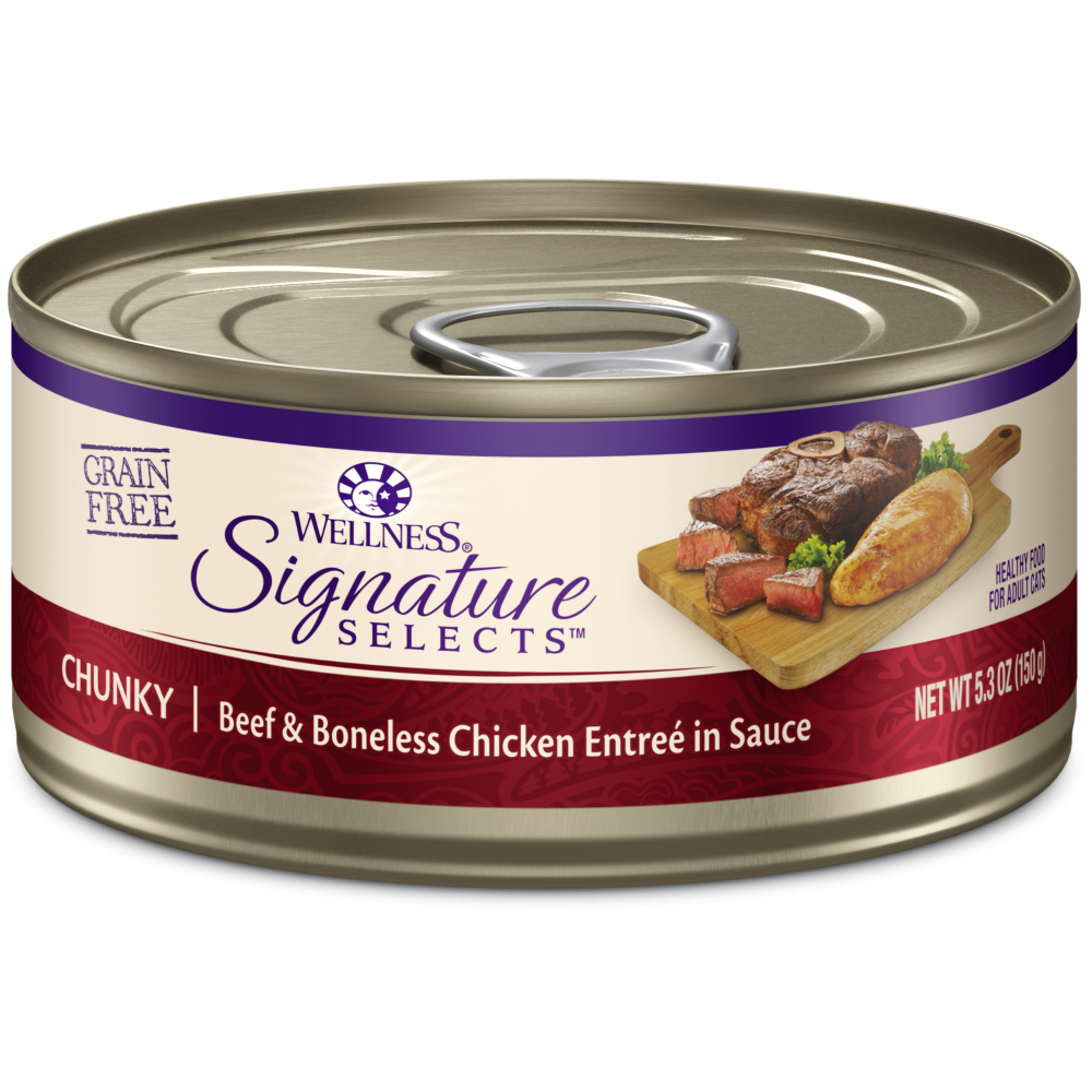 Wellness Signature Selects Grain Free Natural Beef and White Meat Chicken Entree in Sauce Wet Canned Cat Food