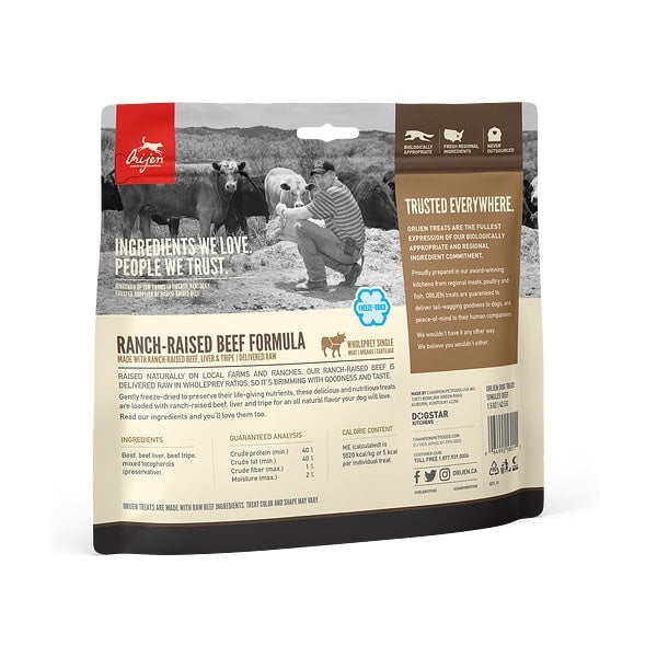 ORIJEN Freeze Dried Ranch Raised Beef Dog Treats