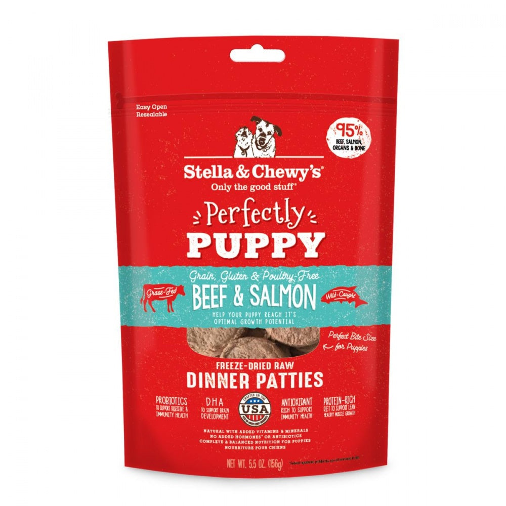 Stella & Chewy's Perfectly Puppy Freeze Dried Raw Beef and Salmon Dinner Patties Grain Free Dog Food