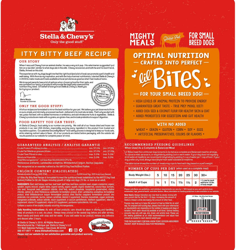 Stella & Chewy's Lil' Bites Itty Bitty Beef Recipe Freeze Dried Raw Small Breed Dog Food