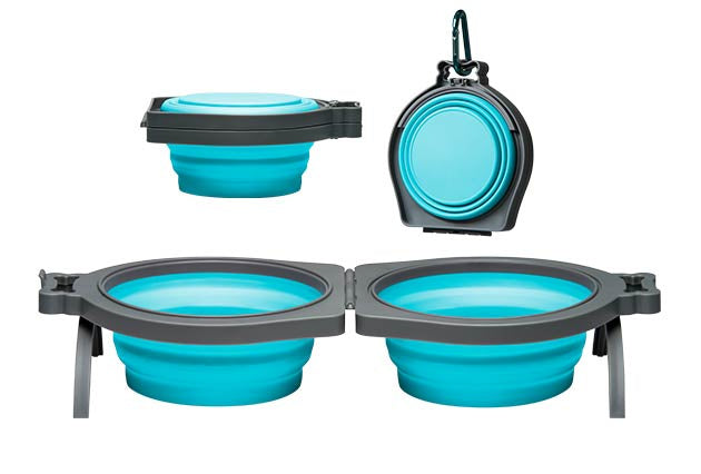 Loving Pets Blue Bella Roma Travel Double Diner Bowl