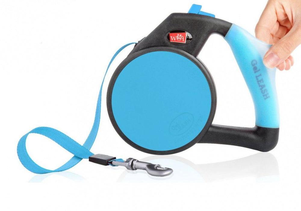 Wigzi Gel Handle Blue Retractable Dog Leash