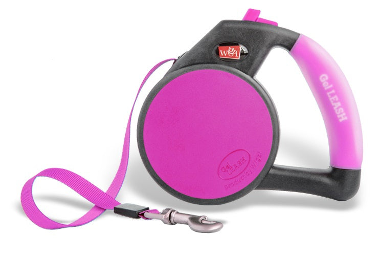 Wigzi Gel Handle Reflective Tape Pink Retractable Dog Leash