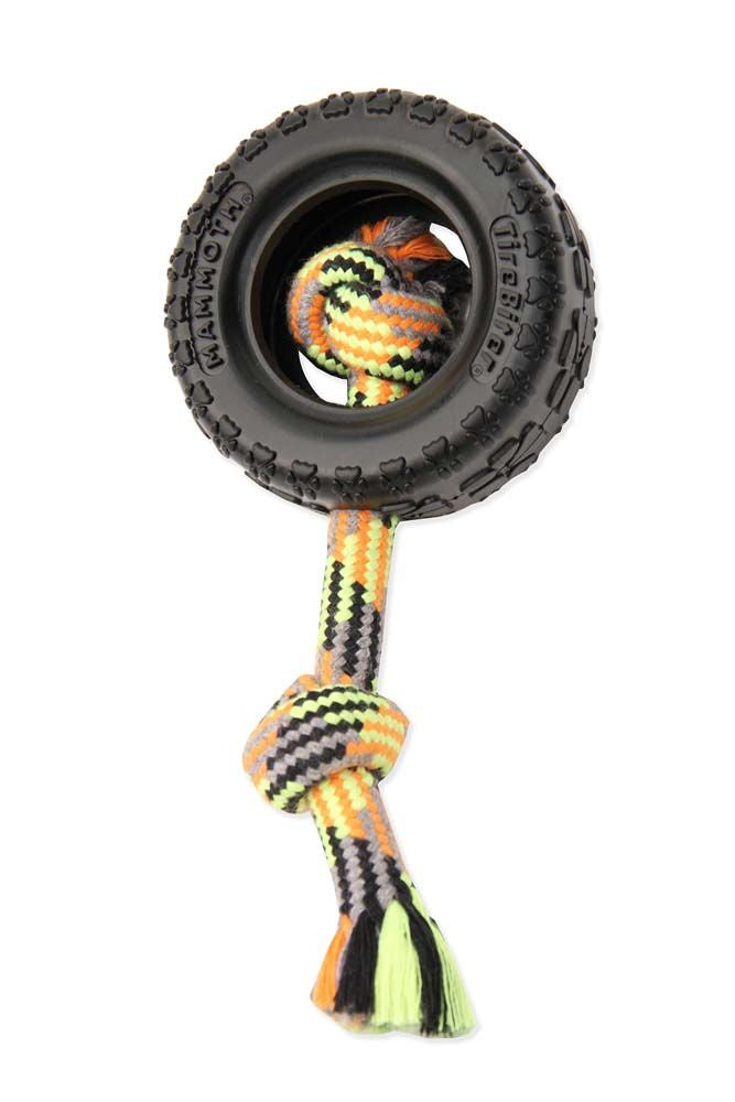 Mammoth TirebiterII with Rope Chew Dog Toy