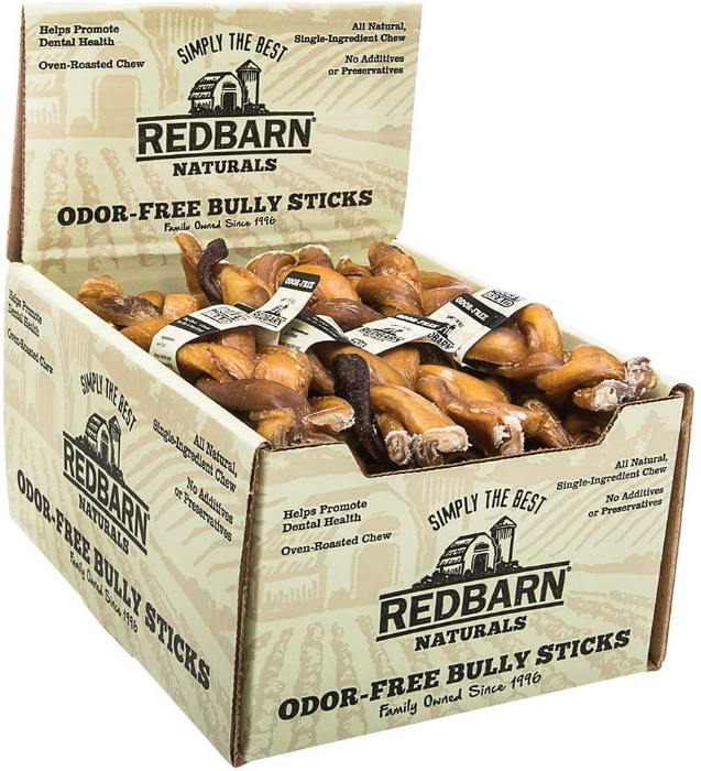 "RedBarn Odor Free 7"" Braided Bully Stick Dog Chew Treat - Case of 20"