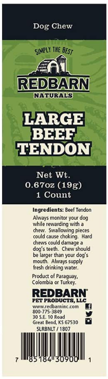 RedBarn Beef Tendon All Natural Dog Chew Treat - Case of 50
