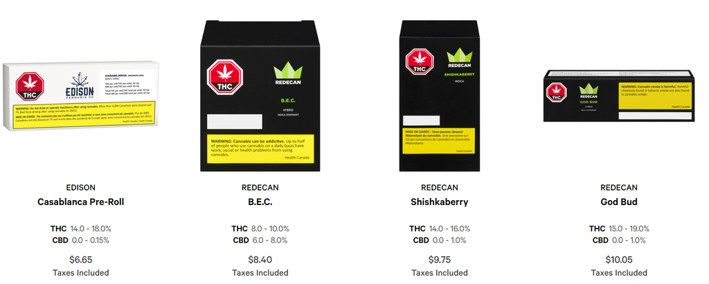 The very dull, black packaging of all marijuana sold from ocs.ca