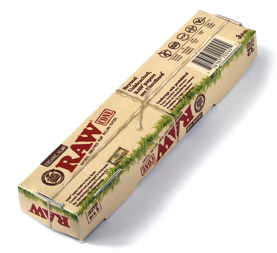 RAW Organic Unrefined Pre-Rolled Cone 32 Pack (1 1/4 Size) - itravel420
