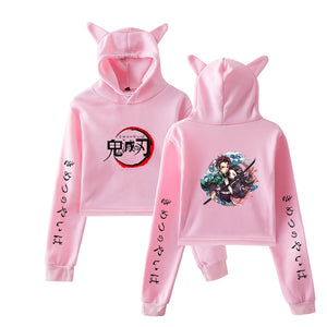 Demon Slayer Bunny Cropped Tanjiro and Nezuko hoodie