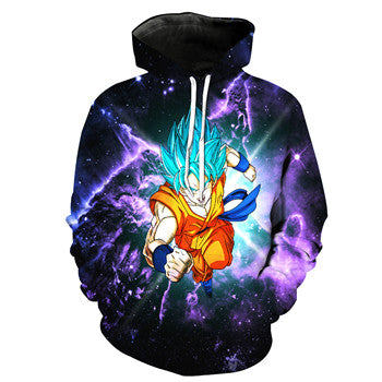 Dragon ball z Super Hoodie -  Goku  Super Saiyan God Blue