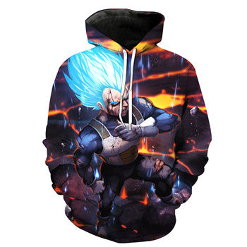 Dragon Ball Z Super- Super Saiyan Vegeta God Blue Hoodie