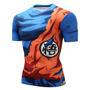 Dragonball Z Super- Goku Battle Torn Short Sleeve Workout Compression Shirt