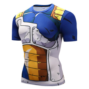 Dragonball Z Super- Saiyan Armor Battle Torn Short Sleeve Workout Compression Shirt