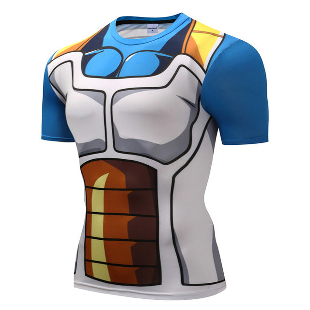 Dragonball z Super- Saiyan Armor Short Sleeve Workout Compression Shirt