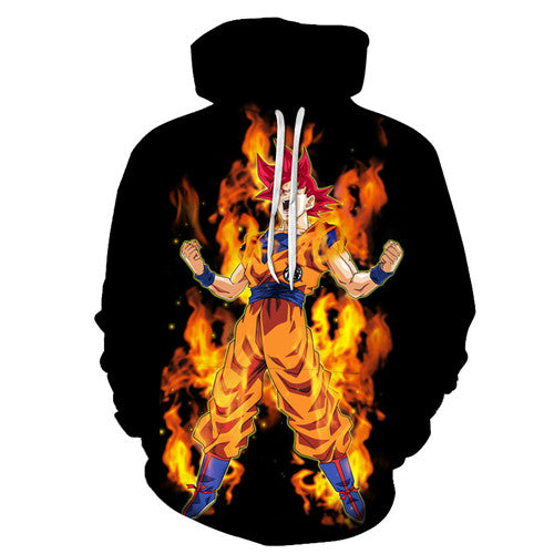 Dragon ball z Super Hoodie - Super Saiyan God Goku Red