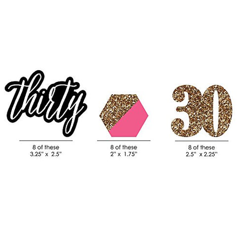 Chic 30Th Birthday - Pink, Black And Gold - Diy Shaped Party Small Cut-Outs - 24 Count