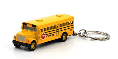 Box Of 12: Die-Cast Mini School Bus With Keychain