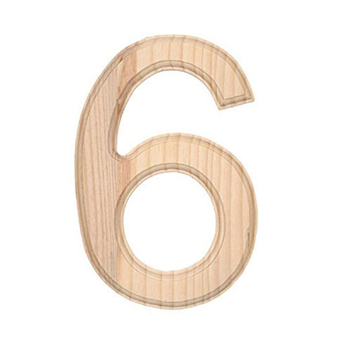 6 Blank Unfinished Wooden Number 6 (Six)