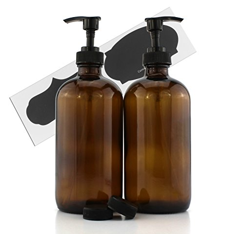 16-Ounce Amber Glass Bottles W/Pump Dispensers ; Refillable Lotion Liquid Soap Pump Brown Bottles + Chalk Labels &Amp; Lids, Bpa-Free Plastic Tops