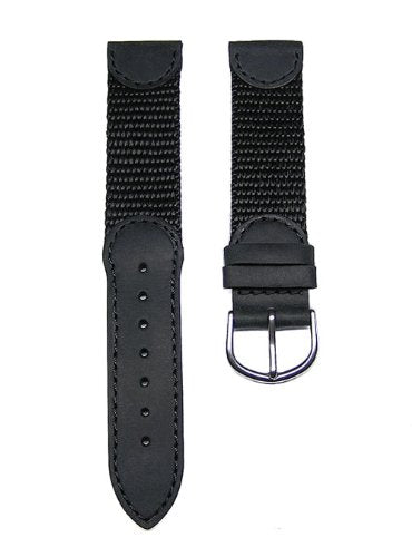 19Mm Black Leather &Amp; Nylon Watch Band Fits Men'S Victorinox Swiss Army Original Watch 24220, 24221 &Amp; 24378