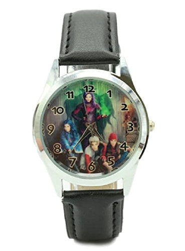 Disney'S Descendants Black Genuine Leather Band Wrist Watch
